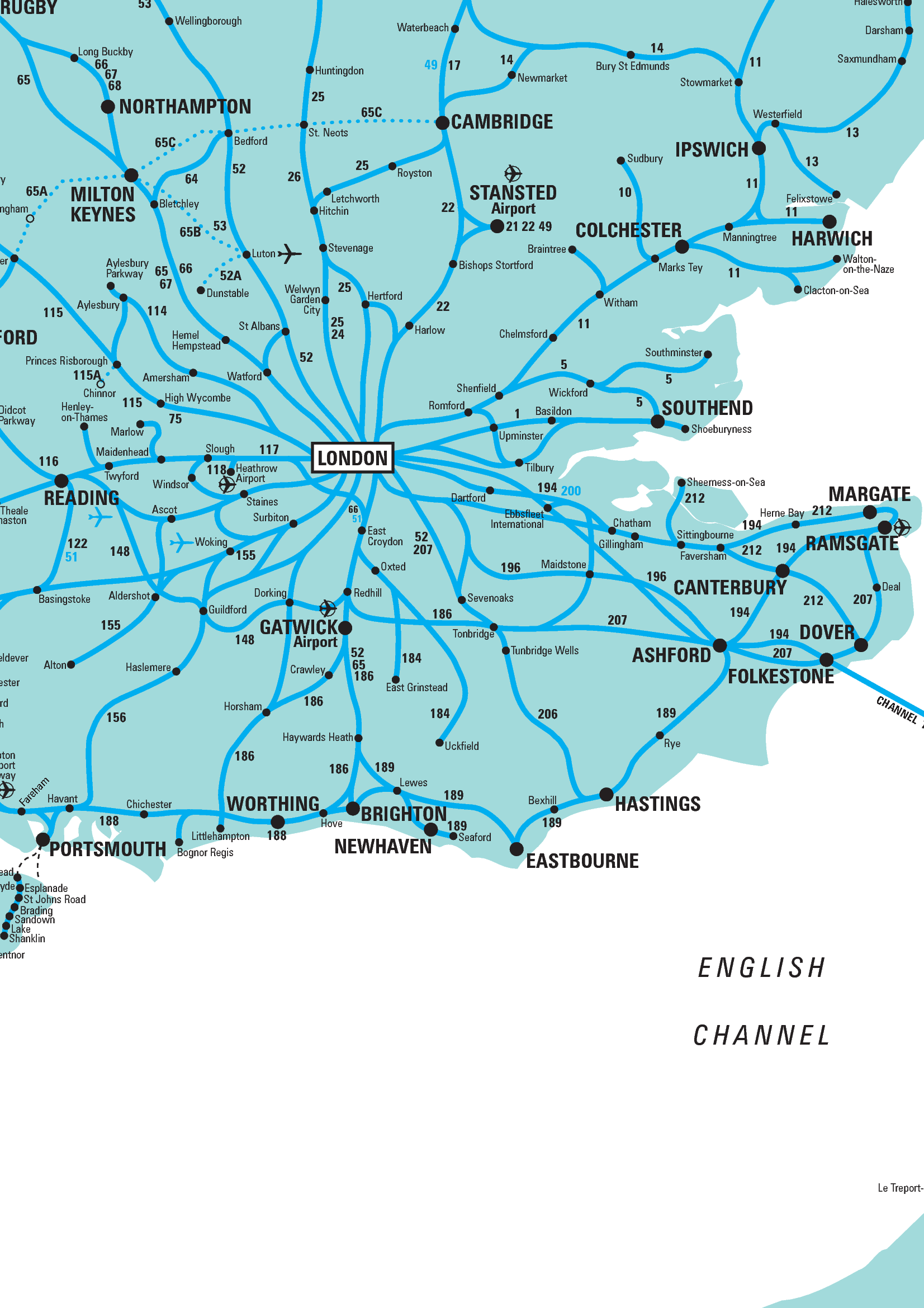 Rail Map South East Rail map of the South East of England