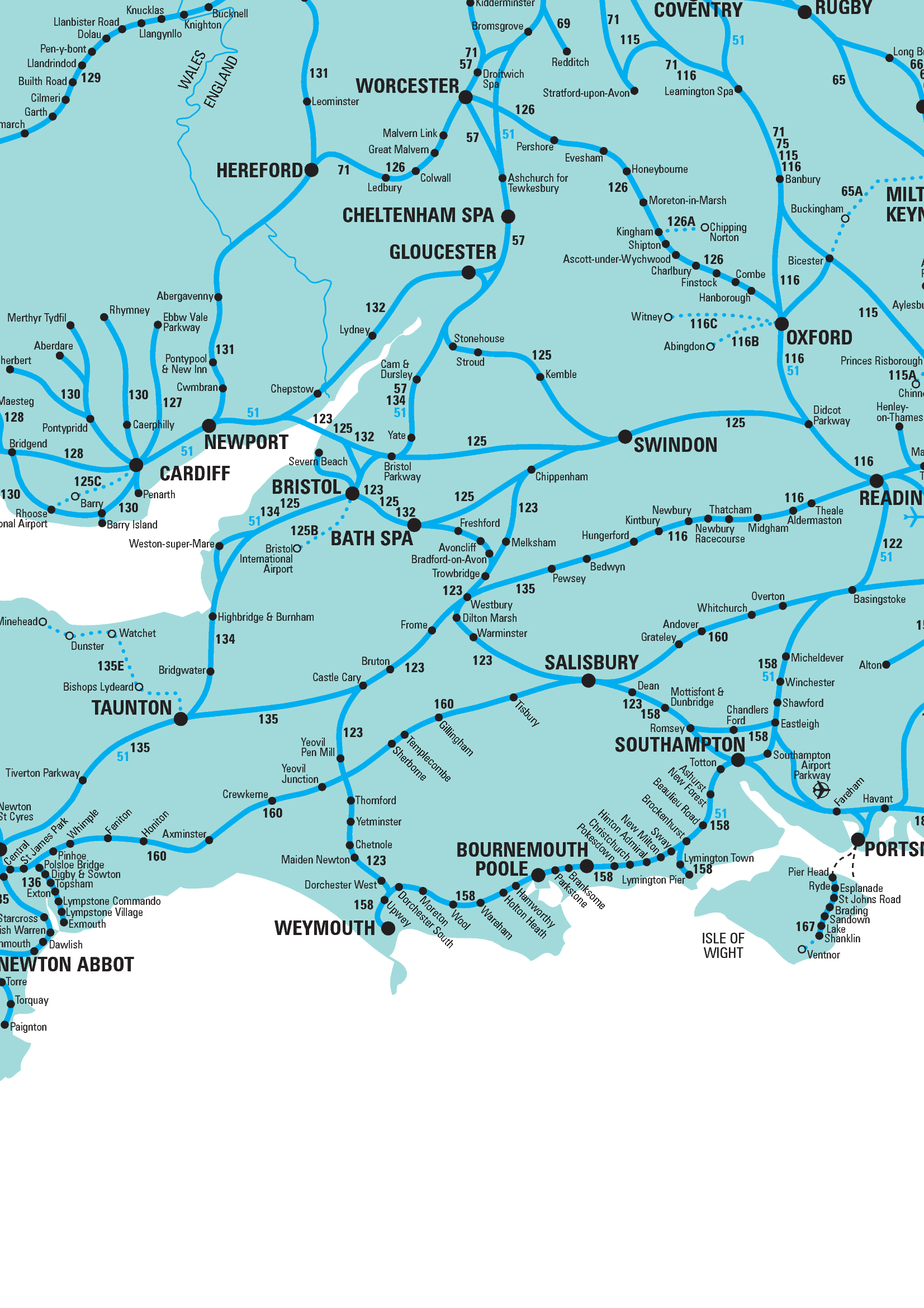 Map Of Southern England Rail map of Southern England Map Of Southern England