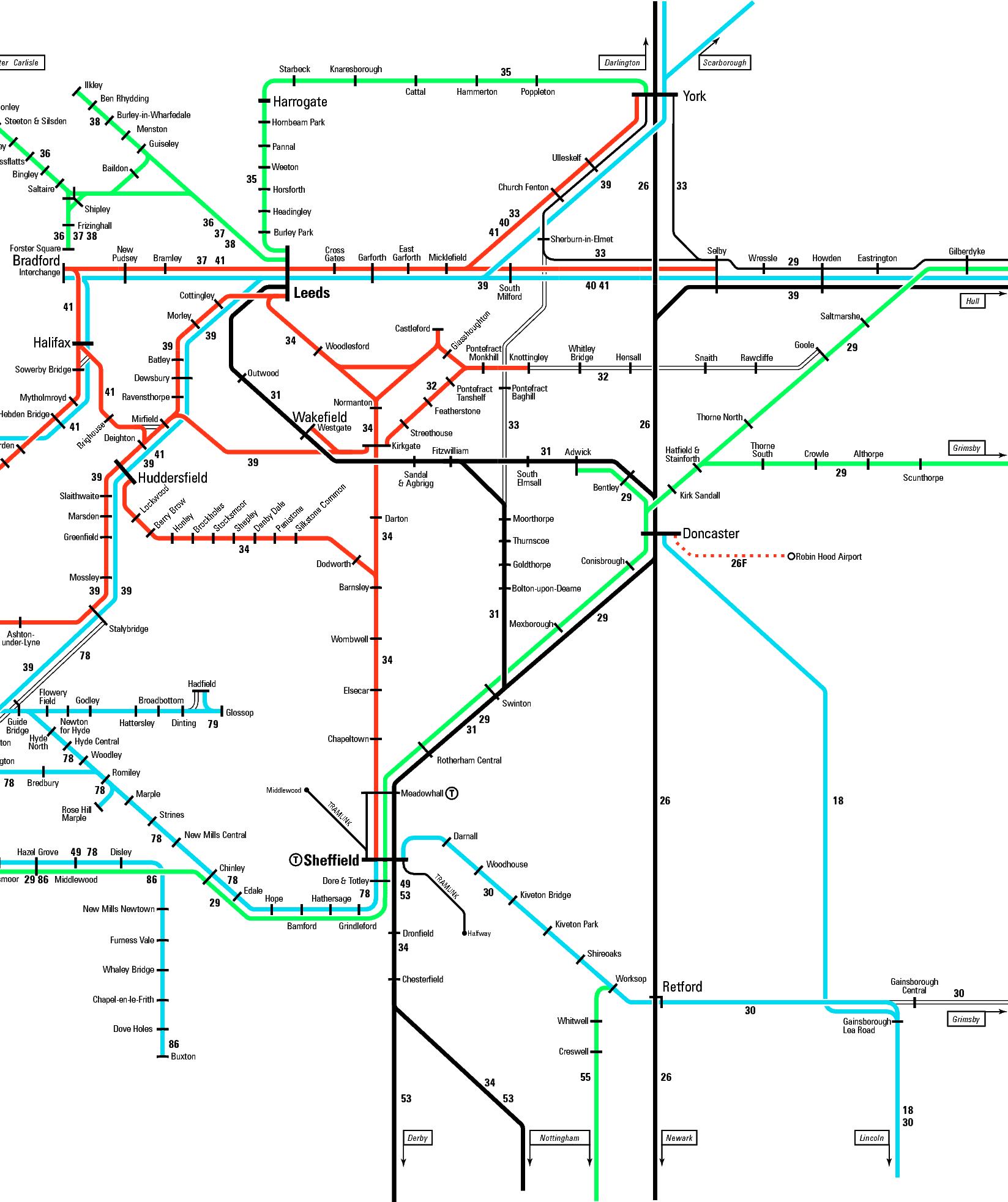 Rail map covering Harrogate Leeds and Sheffield
